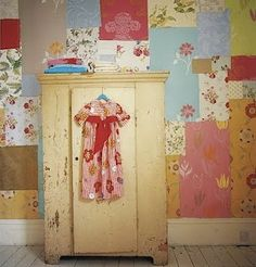 long pieces of wall paper on walls...so going to do this with pieces of scrap book paper on my ceiling
