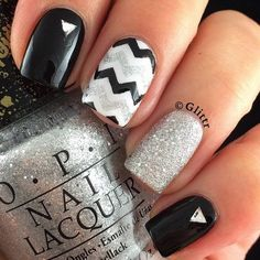 Black and White Chevron Nail with Silver Glitter for Details.