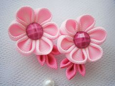 Handmade Kanzashi girls toddler baby hair by MARIASFLOWERPOWER