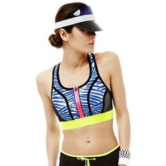Monreal London Azure Palm Sports Bra and Ocean Drive Visor from @fashercise