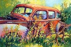 CRISQUINDOM.COM Watercolor Images, Watercolor Projects, Watercolor Illustration, Car Painting, Painting Videos, Watercolour Painting, Watercolours, Easy Paintings, Fabric Painting