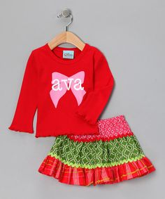 Take a look at this Red & Pink Personalized Bow Tee & Skirt - Infant, Toddler & Girls by Candy Cane Lane: Girls' Apparel on #zulily today!