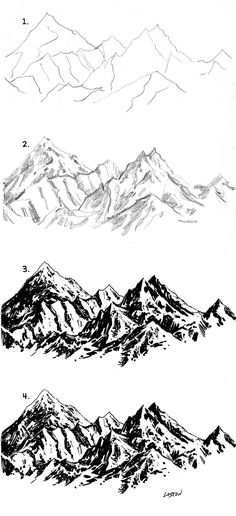 Drawing Tips mountain drawing Drawing Tips, Drawing Sketches, Painting & Drawing, Art Drawings, Sketching, Drawing Rocks, Drawing Ideas, Drawing Drawing, Nature Drawing