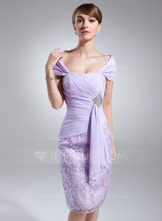 Mother of the Bride Dresses - $146.99 - Sheath Off-the-Shoulder Knee-Length Chiffon Charmeuse Mother of the Bride Dress With Ruffle Lace Beading (008006150) http://jjshouse.com/Sheath-Off-The-Shoulder-Knee-Length-Chiffon-Charmeuse-Mother-Of-The-Bride-Dress-With-Ruffle-Lace-Beading-008006150-g6150