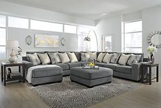 Abraham Over-sized Fabric Ottoman Curved Sectional, Grey Sectional, Sectional Furniture, Large Sectional, Reclining Sectional, Large Sofa, Couch With Chaise, Oversized Ottoman, Fabric Ottoman