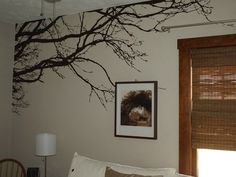 "Amazon.com: Tree Top Wall Branch Decal Nursery Decor with Flock of Birds (8ft Wide X 44"" High) Choose Colors #1130: Home & Kitchen"