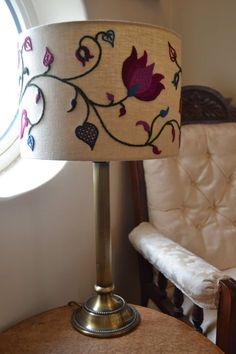 Kit: My Summer crewelwork embroidery lampshade with swirling stylised stems, leaves and petals is now available as a kit. Spring, Autumn and Winter are