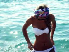 and ill take that white bathing suit,tan and cute headband