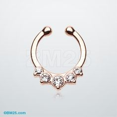 Rose Gold Multi-Gem Precia Fake Septum Clip-On Ring- because sometimes you want to be more punk, but don't want the permanance of a piercing:P