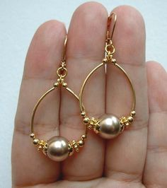 Best 12 Quality Champagne South Sea Shell Pearls Gold Hoop Earrings - Leverbacks in Jewelry & Watches, Fashion Jewelry, Earrings Sea Glass Jewelry, Wire Jewelry, Beaded Jewelry, Jewelery, Silver Jewelry, Jewelry Necklaces, Jewelry Watches, Silver Ring, Gold Bracelets