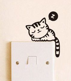 Sleeping Cat Light Switch Decal Wall by AngelRoom Cat Light, Wall Drawing, Home And Deco, Wall Murals, Wall Décor, Cat Wall, Kids Bedroom, Stencil, Room Decor