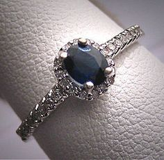 vintage sapphire diamond engagement ring ~ usually prefer diamond engagement rings but I can't resist sapphires