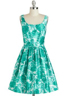 Beryl a Resemblance Dress - Mid-length, Green, Mint, Floral, Exposed zipper, Pleats, Pockets, Daytime Party, Fit & Flare, Spring, White, Bows, Tank top (2 thick straps), Scoop, Wedding, Bridesmaid, Prom