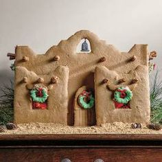 Put a southwest spin on your gingerbread house this holiday season! Learn how to make an Adobe style gingerbread house with the recipe and instructions from Phoenix Home and Garden's Food Editor at Large, Sydney Dye. Gingerbread House Parties, Gingerbread Decorations, Christmas Gingerbread House, Christmas Cookies, Gingerbread Houses, Christmas Houses, Winter Christmas, Christmas Holidays, Christmas Crafts