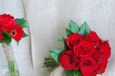 "Brides bouquet - Red ""freedom"" roses and burlap stem wrap."