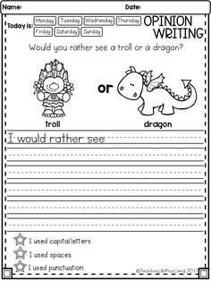 FREE Writing Opinion and Picture Prompts Awesome writing activities for first grade and second grade! These writing activities are also great for advanced kindergarten. Opinion Writing Prompts, Kindergarten Writing Prompts, 2nd Grade Writing, Writing Prompts For Kids, Writing Worksheets, Teaching Writing, Writing Skills, Writing Activities, Sentence Writing