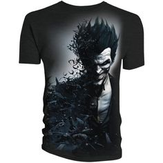 HUBBY WILL LOVE THIS: The Batman Arkham Origins Joker Smiles T-Shirt will be available November 29 but it can be pre-ordered now for £14.99/$23.94 at ForbiddenPlanet.com.