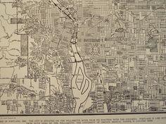 1941 City Map Portland Oregon vintage street by moosehornvintage