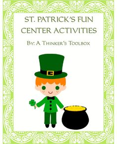 St. Patrick's Day Fun - Center Activities by A Thinker's Toolbox #potofgold #rainbow #leprechaun