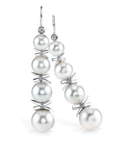 Pearl Earrings - Mark Schneider Design, Earrings featuring four freshwater pearls, accented with 0.30ctw of white diamonds.