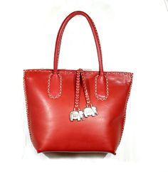 (Scarlett Red) Tsonga Azetha Bag Handcrafted from Luxuriously Soft Leather. Dimensions 35 cm (L) x 26 cm (H)
