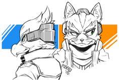 Falco & Fox | Tumblr Fox Character, Character Drawing, Character Design, Super Smash Bros, Star Fox Video Game, Alita Battle Angel Manga, Fox Mccloud, Fox Games, Fox Pictures