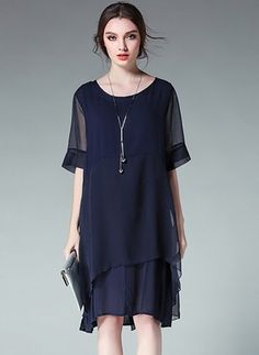 Polyester Solid Half Sleeve Knee-Length Casual Dresses (1036680) @ floryday.com