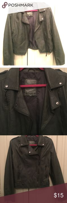 Olive green Leatherette jacket - M Olive green leatherette moto jacket. Side zipper and small zipper accents on sleeves. Jackets & Coats