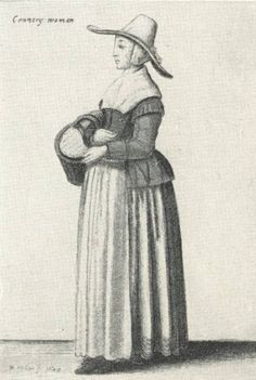 Drawing by Wenceslaus Hollar, circa 1645, illustrating women's fashion history, 17th century, from life subjects.  Digital image © 2003 Jone Johnson Lewis. Licensed to About.com.