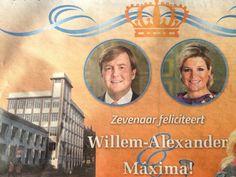Zevenaar feliciteert Willem-Alexander en Máxima op dinsdag 30 april 2013, de laatste Koninginnedag. via @Anja van.