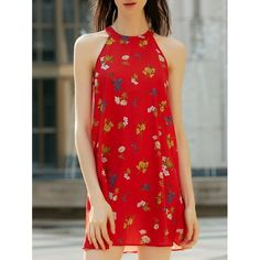 12.07$  Buy here - http://diiou.justgood.pw/go.php?t=174175503 - Stylish Women's High Neck Sleeveless Floral Print Cut Out Dress