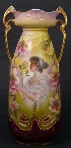 gallery portrait vases | 357: ANTIQUE GERMAN PORCELAIN ART NOUVEAU PORTRAIT VASE : Lot 357