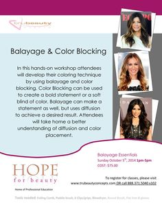 Balayage & Color Blocking Sunday October 5th, 2014 1PM - 5PM.  Sign up at www.trubeautyconcepts.com