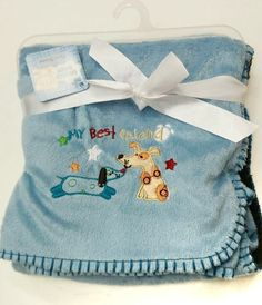 Snugly Baby brand baby boy's blue My Best Friend doggy embroidered blanket @ www.Frommaternity2toddler.com