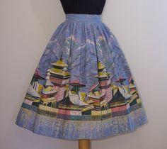 1950s Novelty Print Skirt  Oriental Far by RainbowValleyVintage, £55.00