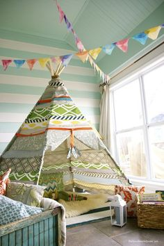 Tents & Treehouses, children's room, indoor tent, tee-pee, flags, stripes, interior decorating