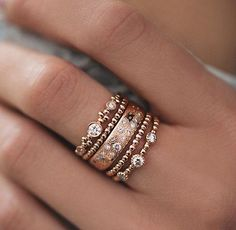 Beautiful stacked diamond rings.
