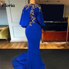 Cape Cloak Royal Blue Mermaid Evening Dresses With Gold Beads 2019 Arabic Dubai Women Designer Long Prom Dress Party Gown Kohls Dresses, Plus Size Prom Dresses, Prom Party Dresses, Prom Gowns, Formal Dresses, Dresses Dresses, Dress Party, Casual Dresses, Fashion Dresses