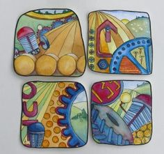 Watercolour preparation for polymer clay plaques. Liz Welch