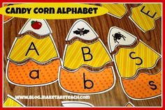 Fun fall-themed center activity for learning letters and sounds. Learning Letters, Alphabet Activities, Classroom Activities, Kids Learning, Alphabet Phonics, Youth Activities, Classroom Ideas, Kindergarten Centers, Kindergarten Reading