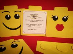 Lego invitations…  you can find these and other fun lego invitations @ my etsy store.   look us up…..OohLaLaPR  ;)