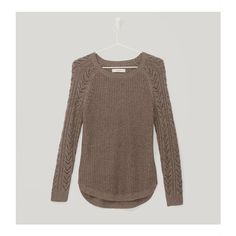 LOFT Cable Sleeve Sweater (385 HRK) ❤ liked on Polyvore featuring tops, sweaters, cocoa cream melange, cream top, ribbed sweater, cream cable sweater, cream cable knit sweater and cableknit sweater