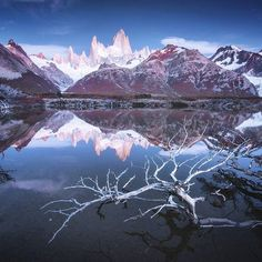 Crystal clear Fitz Roy Mountain (Chalten) before sunrise, at dawn.  This is extremely rare moment, when there is no wind in Patagonia... Danielkordan.com #patagonia #Fitzroy #chalten #argentina