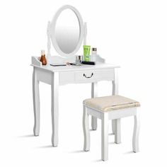 Tribesigns Vanity Table with Lighted Mirror 8 Lights Drawer/&Storage Shelves Desk