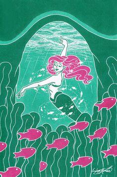 Inktober 2017 day 12 by Evelmoro on DeviantArt Disney Style, Disney Art, Disney Pixar, Mermaid Diy, Ariel The Little Mermaid, Water Fairy, Disney Silhouettes, Disney Princess Ariel, List Of Artists