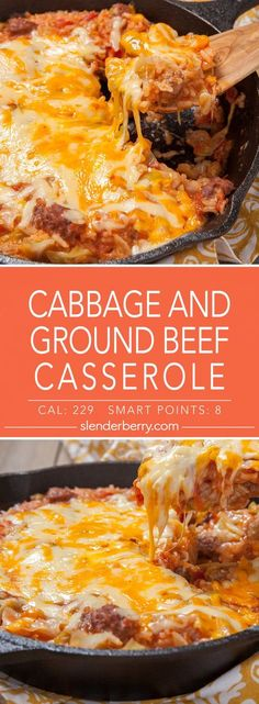 Casserole with cabbage and ground beef - Slenderberry - Low-calorie cabbage and ground beef casserole recipe - 229 calories - # Cabbage rezepte calorie dinner calorie food calorie recipes