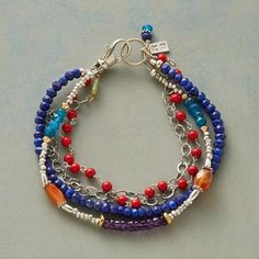 """***SOL DE MAR BRACELET $138. Lapis, coral, carnelian, peridot, amethyst heishi beads and neon apatite mingle with sterling silver, beckoning to us like sun and sea. Sterling lobster clasp. USA. Exclusive. Approx. 7-1/2""""L."""