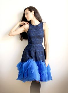 Annabeth  Sample Sale Navy lace and royal blue silk by Leanimal, $545.00