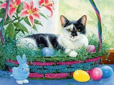 ein originelles Ostern Hintergrundbild mit einer Katze