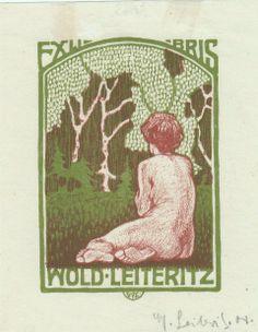 Ex Libris Wold. Leiteritz Sitzender weiblicher Akt (Rückenfigur) und Jugendstilwald 1908 78 x 54 mm farbige Lithographie nicht bei Gutenberg...